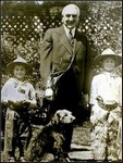 President Harding with Airedale Terrier, Laddie Boy